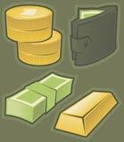 Groene pictogrammen met geld Stock Afbeeldingen
