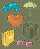 Groene pictogrammen voor het winkelen Royalty-vrije Stock Foto