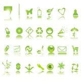 Groene pictogrammeninzameling Stock Afbeeldingen