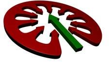 Groene pijl in cirkel van pijl stock illustratie