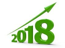 Groene pijl omhoog met 2018 Stock Afbeelding
