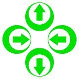 Groene pijlen achter voorwaarts omhoog neer Royalty-vrije Stock Fotografie