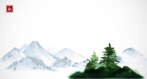 Groene Pijnboombomen en verre blauwe bergen Traditionele oosterse inkt die sumi-e, u-zonde, gaan-hua schilderen Hiëroglief - stock illustratie