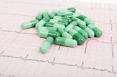 Groene pillen op electrocardiogram Stock Afbeelding