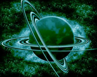 Groene planeet - fantasieruimte Stock Afbeelding