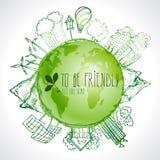 Groene planeet met de krabbels van de cirkelecologie Geschetste ecoelementen met aarde en wereldkaart stock illustratie