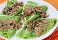 Groene plantaardige pannekoeken Stock Fotografie