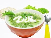 Groene plantaardige pompoensoep met brood stock afbeelding