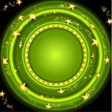 Groene pook om achtergrond met gouden sterren en groen cirkelkader Stock Afbeeldingen
