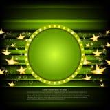 Groene pookachtergrond met gouden sterren en groen cirkelkader Stock Afbeeldingen