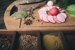 Groene radijs, rode tuinradijs en stukken van roggebrood Royalty-vrije Stock Foto