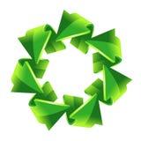 7 groene recyclingspijlen Stock Foto