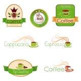 Groene reeks emblemen voor koffie, royalty-vrije illustratie