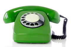 Groene retro telefoon Royalty-vrije Stock Afbeeldingen