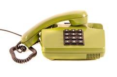 Groene retro telefoon op witte achtergrond royalty-vrije stock afbeeldingen