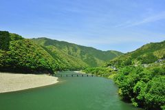 Groene rivier in Japan Royalty-vrije Stock Afbeelding