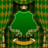 Groene romboïdenachtergrond met opgeschorte decoratieve barok Stock Afbeeldingen