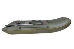 Groene, rubber, opblaasbare het roeien boot, die op witte backgro wordt geïsoleerd Royalty-vrije Stock Foto's