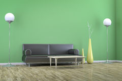 Groene ruimte met een bank Royalty-vrije Stock Foto's