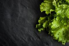Groene salade in de rechterkant van de zwarte steenlijst Stock Afbeelding