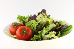 Groene salade en tomaten Stock Afbeelding