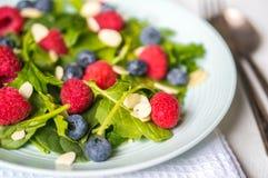Groene salade met bessen en amandelen Royalty-vrije Stock Afbeelding