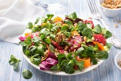 Groene salade met bloedsinaasappelen, wortelen, bieten, zaden en noten stock fotografie
