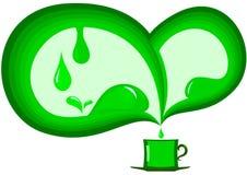 Groene Samenvatting met een kop thee stock illustratie