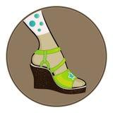 Groene sandals Stock Foto