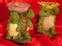 Groene schildpadstandbeelden Stock Foto's