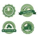 Groene schoonheidsmiddelenkentekens, stickers Stock Afbeelding