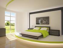 Groene slaapkamer Royalty-vrije Stock Foto's