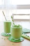 Groene smoothie met kruiden royalty-vrije stock fotografie
