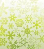 Groene sneeuwvlokken Stock Fotografie