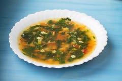 Groene soep met zuring en netel in een witte plaat Russische traditionele netelsoep stock fotografie