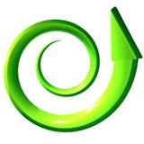 Groene spiraalvormige 3D pijl vector illustratie