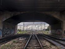Groene spoorwegbrug Royalty-vrije Stock Foto's
