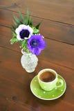 Groene spotty mok en anemonen Royalty-vrije Stock Foto's
