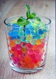 Groene spruit in een glas met hydrogelballen Kleuren van regenboog royalty-vrije stock afbeelding
