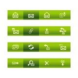 Groene staafe-mail pictogrammen Stock Afbeeldingen
