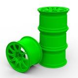 Groene staalschijven voor een auto 3D illustratie Stock Foto