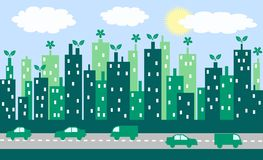 Groene stad stock illustratie