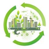Groene stad. De achtergrond van het milieu. Royalty-vrije Stock Foto's