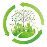 Groene stad. De achtergrond van het milieu. vector illustratie