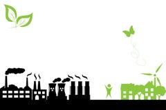 Groene stad en de industriële bouw Stock Afbeeldingen