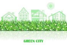 Groene stads kleurrijke achtergrond met Groene lijngebouwen, gras, Royalty-vrije Stock Foto