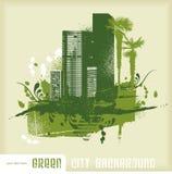 Groene stadsachtergrond Stock Foto's