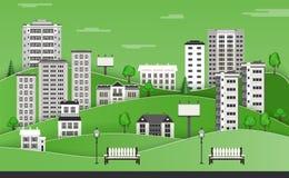 Groene stadshorizon met flatgebouwen en bureaugebouwen met meerdere verdiepingen, banken en lantaarnpalen royalty-vrije illustratie