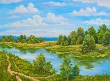 Groene struiken dichtbij rivier in zonnige dag Landschapsbomen, groen gras op de kust van een rivier Origineel olieverfschilderij stock afbeeldingen