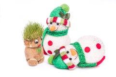 Groene Teddy And-sneeuwman Stock Foto